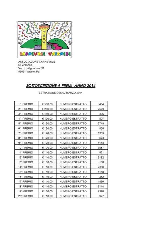 Lotteria vaiano 2014 carnevale