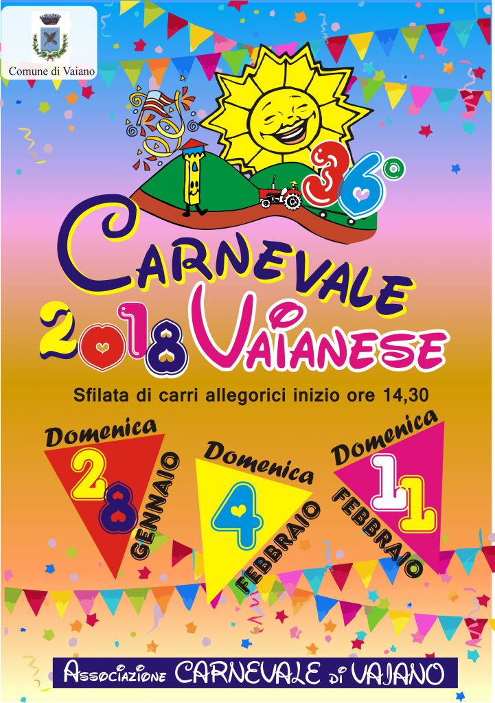 Carnevale 2018 , sfilate 28 gennanio 4 Febbraio 11 Febbraio partenza ore 14.30